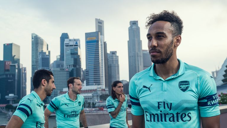 Pierre-Emerick Aubameyang models the Arsenal 2018/19 third kit during the pre-season tour in Singapore (Puma)