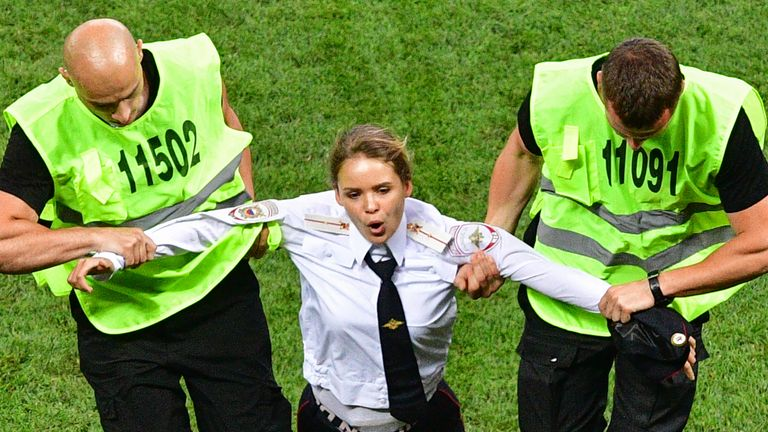 Pussy Riot members invaded the pitch at the World Cup final