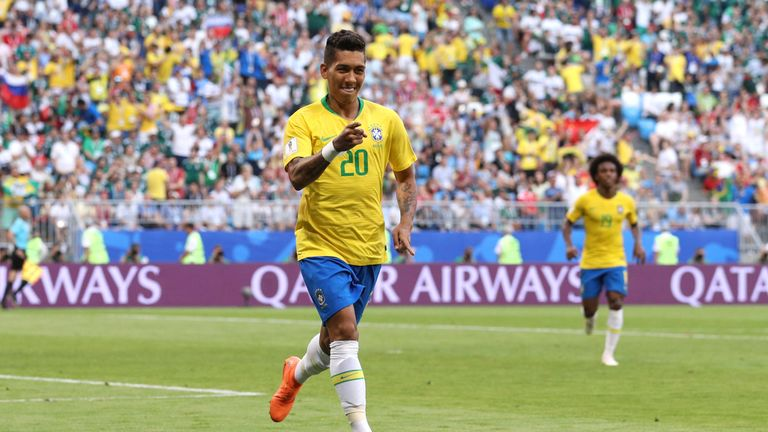 Roberto Firmino celebrates his goal against the US