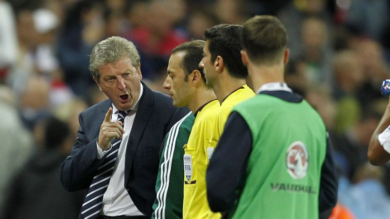 Former England manager Roy Hodgson remonstrates with Cakir
