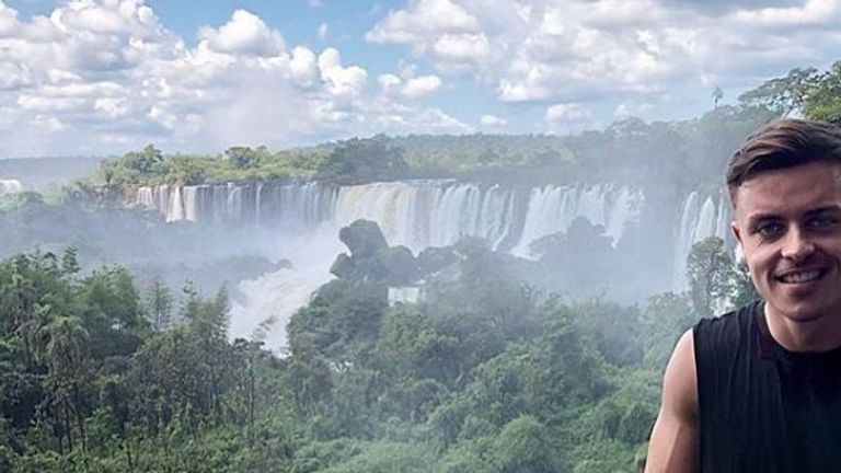 Williams at the spectacular Iguassu Falls during his time in Brazil