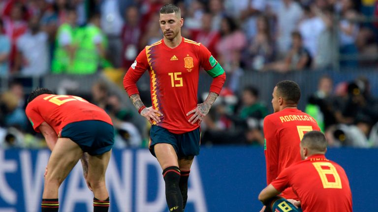 Sergio Ramos and the Spain team are left dejected