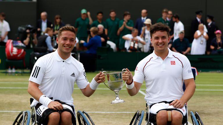Britain's Gordon Reid and Alfie Hewett won a third successive Wimbledon wheelchair doubles title - Credit: Anna Vasalaki
