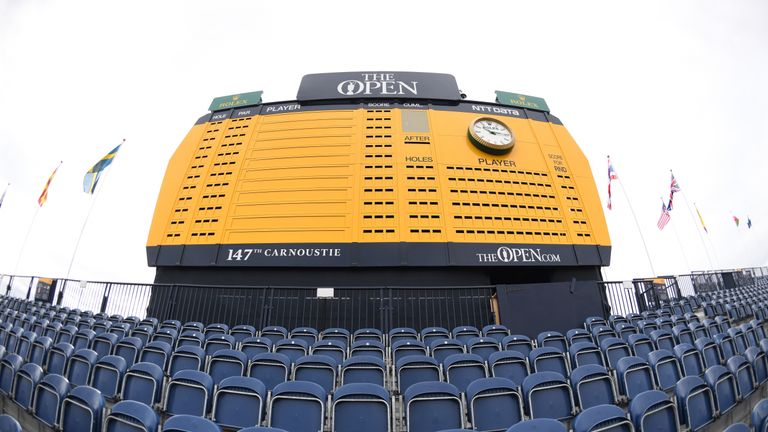 during previews to the 147th Open Championship at Carnoustie Golf Club on July 16, 2018 in Carnoustie, Scotland.
