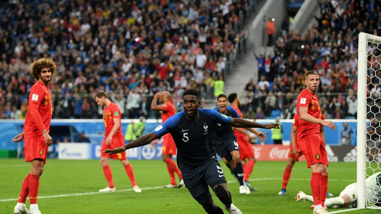 Umtiti celebrates his winning goal against Belgium in the World Cup semi-finals