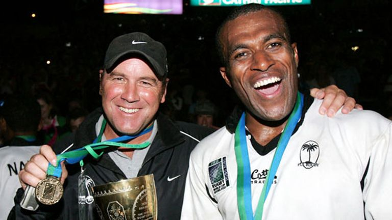 Pivac and Sireli Bobo after 2005 Rugby World Cup Sevens success