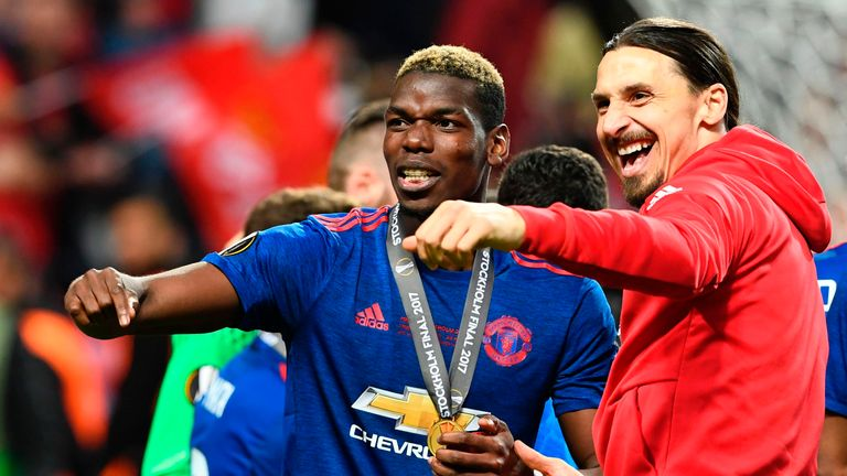 Pogba and Ibrahimovic celebrate Europa League success with Manchester United