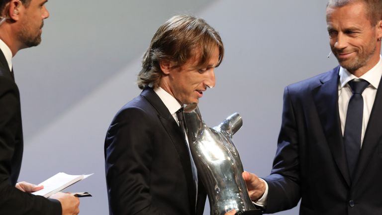 Luka Modric receives the UEFA Men's Player of the Year award