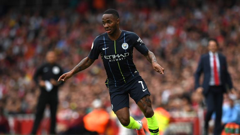 Raheem Sterling in action at the Emirates