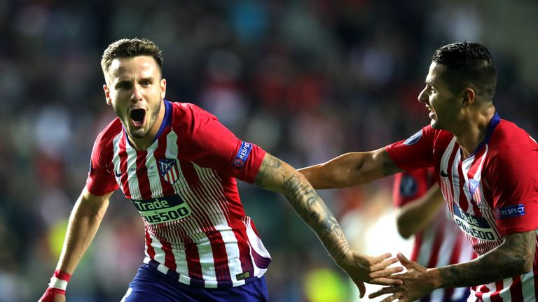 Saul celebrates after restoring Atleti's advantage in extra-time with a superb finish