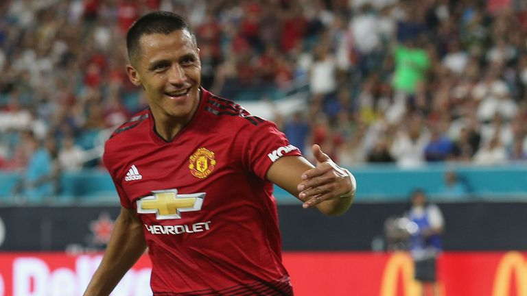 MIAMI, FL - JULY 31:  Alexis Sanchez of Manchester United celebrates scoring their first goal during the pre-season friendly match between Manchester United and Real Madrid at Hard Rock Stadium on July 31, 2018 in Miami, Florida.  (Photo by John Peters/Man Utd via Getty Images) *** Local Caption *** Alexis Sanchez