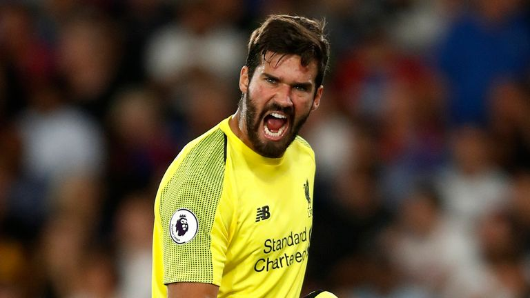 Alisson during the Premier League match between Crystal Palace and Liverpool FC at Selhurst Park on August 20, 2018 in London, United Kingdom.