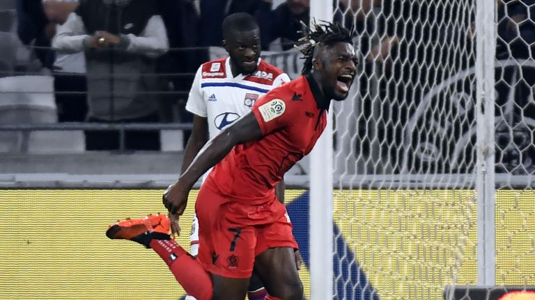 Allan Saint-Maximin celebrates scoring for Nice