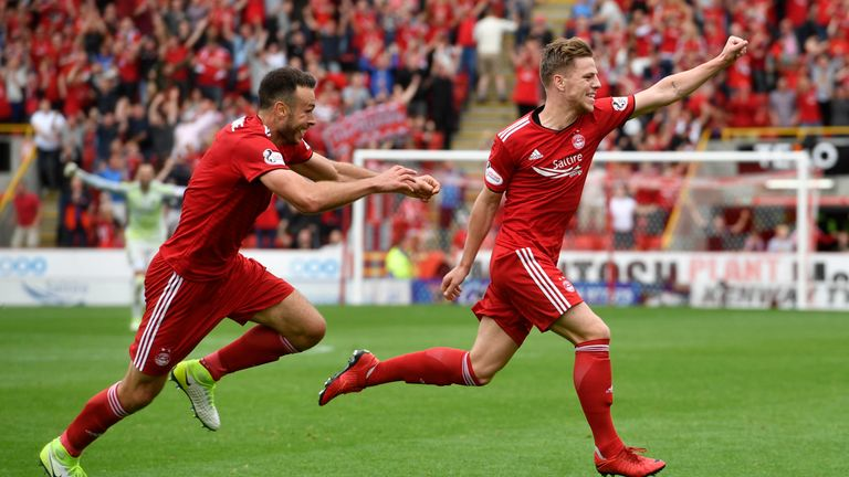 Aberdeen's Bruce Anderson celebrates his late equaliser against Rangers on the first weekend of the Scottish Premiership season