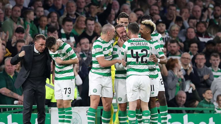 Celtic celebrate Leigh Griffiths' opening goal