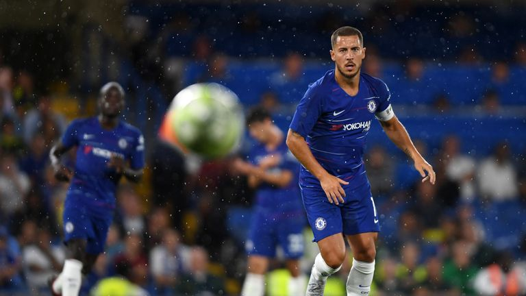 Eden Hazard received a warm reception from Chelsea supporters on his return to action at Stamford Bridge on Tuesday
