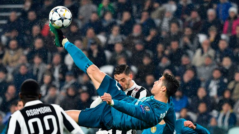 Cristiano Ronaldo's overhead kick helped Real Madrid to a 3-0 win at Juventus in April