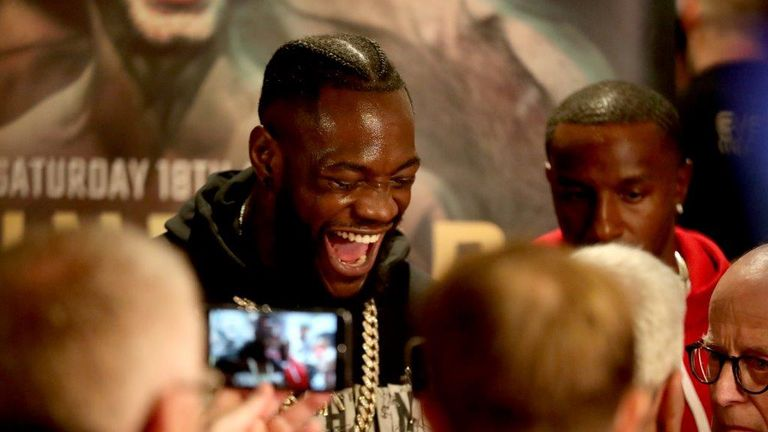 Deontay Wilder at Tyson Fury weigh-in