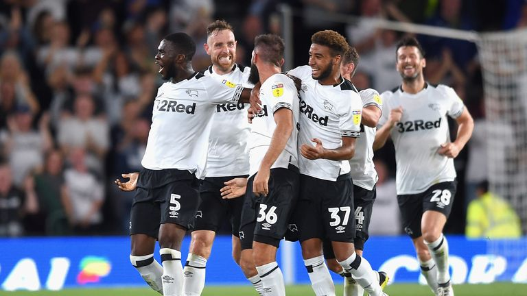 during the Sky Bet Championship match between Derby County and Ipswich Town at Pride Park Stadium on August 21, 2018 in Derby, England.