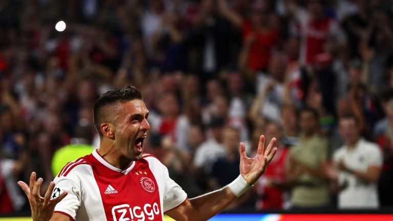 Dusan Tadic scored Ajax's final goal in their 5-0 win over AZ Alkmaar