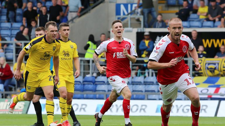 Fleetwood Town's Paddy Madden celebrates scoring his side's second goal