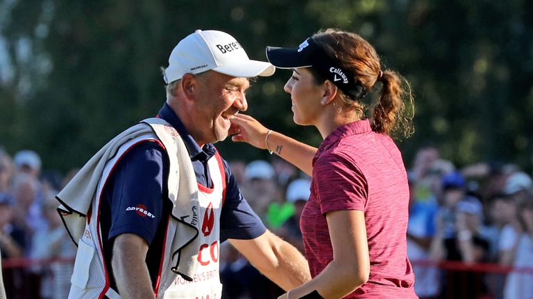 Hall had her dad caddieing for her throughout the week