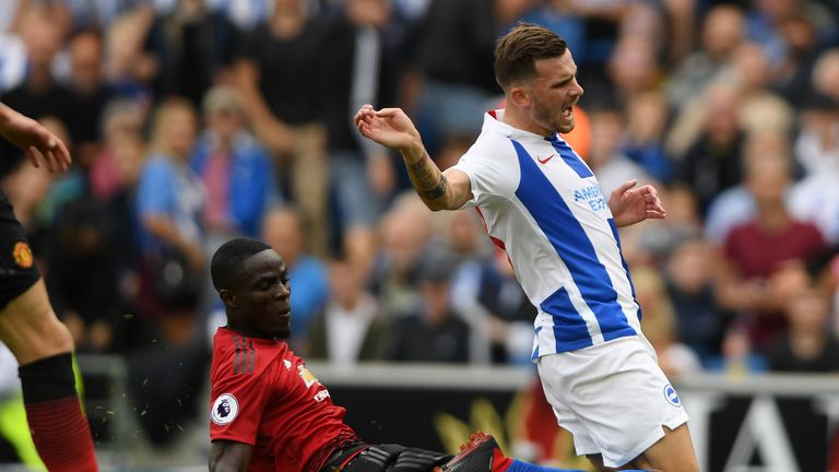 Pascal Gross was fouled by Eric Bailly as Brighton were awarded a penalty