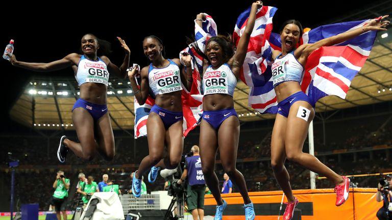 GB's women's relay sprinters celebrate gold in Berlin