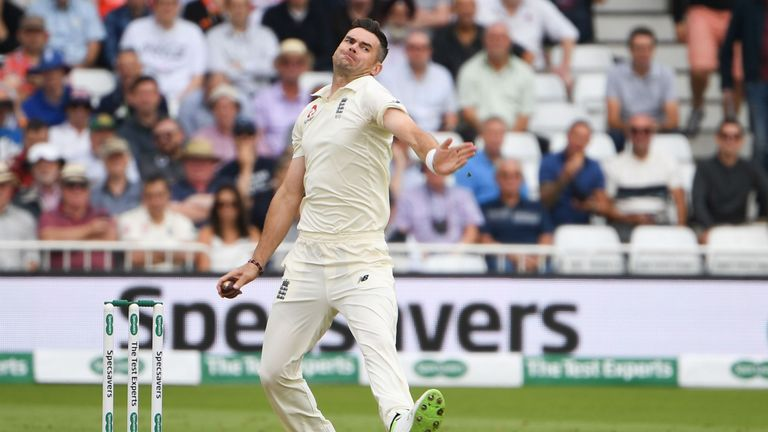 James Anderson bowls for England against India