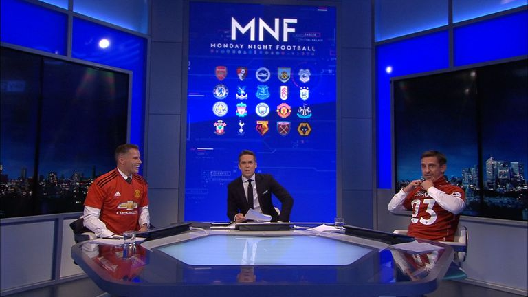 Nev and Carra in rival shirts