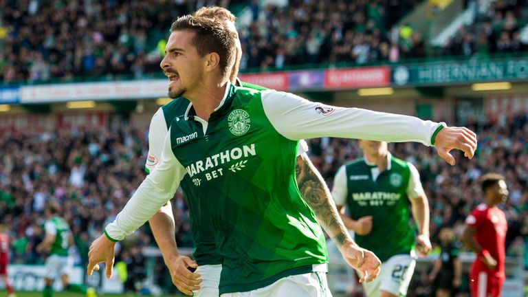Hibernian's Jamie Maclaren celebrates scoring the equaliser against Aberdeen last weekend