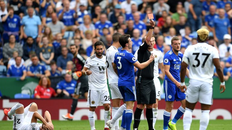 Jamie Vardy was sent off for Leicester at the weekend