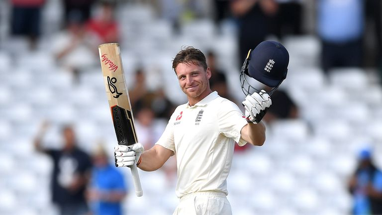 Jos Buttler celebrates reaching his century during the third Test at Trent Bridge