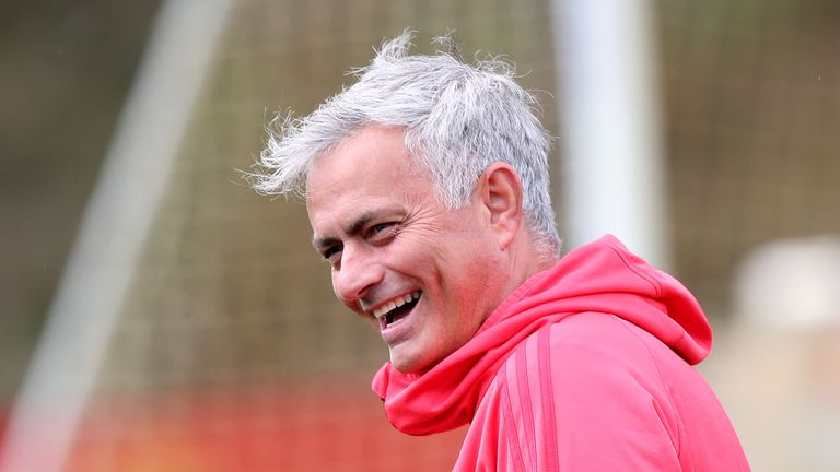 Manchester United manager Jose Mourinho smiles during a training session at the club's Aon Training Complex