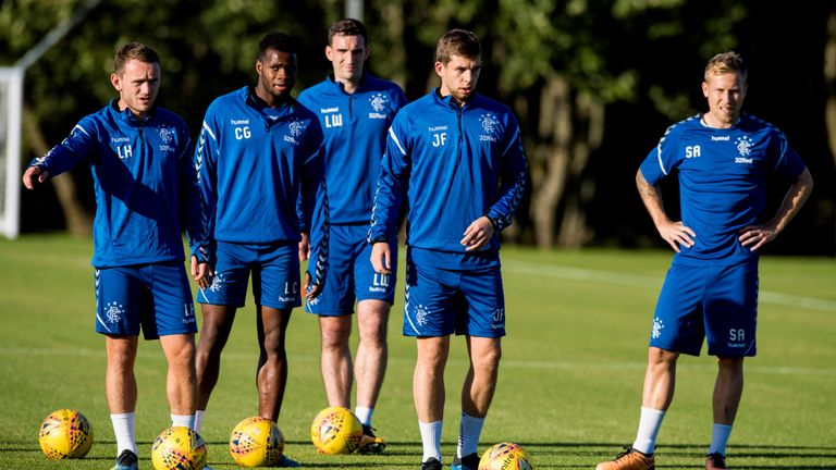 Rangers defender Lee Hodson in training