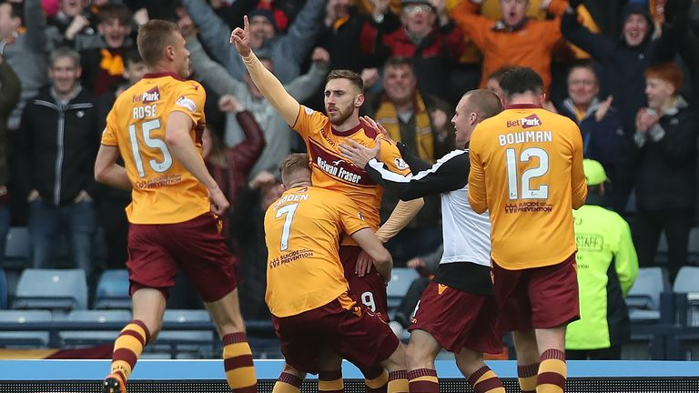 Moult celebrates scoring during his time at Motherwell