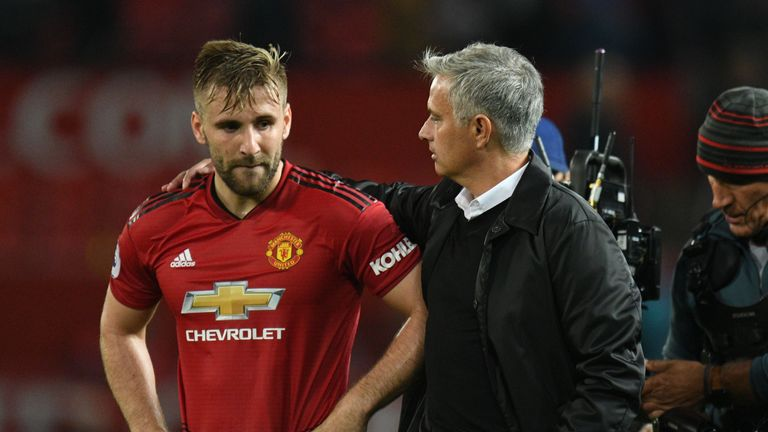 Jose Mourinho has been impressed with Luke Shaw this season despite two defeats from three matches