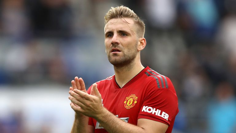 Luke Shaw during the Premier League match between Brighton & Hove Albion and Manchester United at American Express Community Stadium on August 19, 2018 in Brighton, United Kingdom.