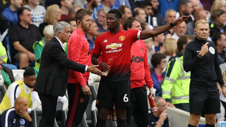 during the Premier League match between Brighton & Hove Albion and Manchester United at American Express Community Stadium on August 19, 2018 in Brighton, United Kingdom.