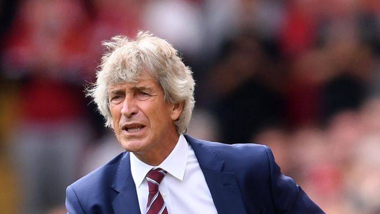 Manuel Pellegrini during the Premier League match between Liverpool and West Ham United