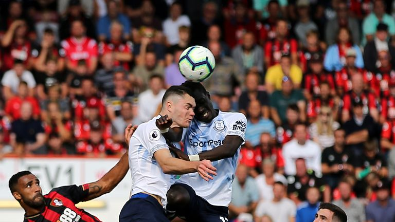 Michael Keane and Idrissa Gueye clashed heads at the Vitality Stadium