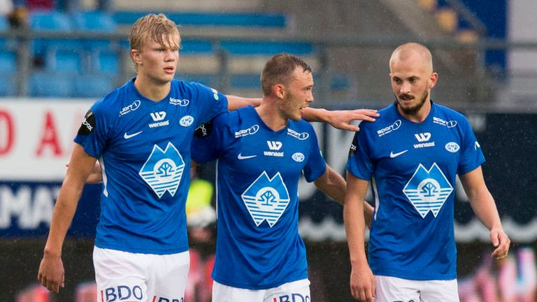 Erling Braut Haaland (left) celebrates his opening goal for Molde