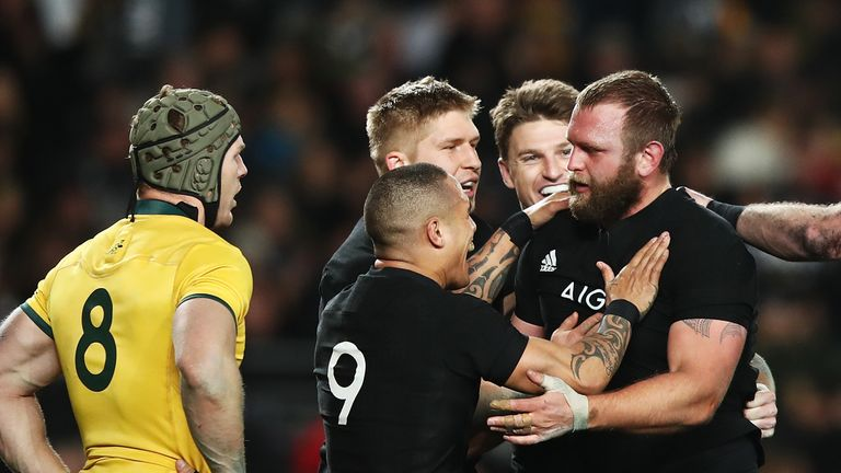 New Zealand celebrate Joe Moody's try minutes into the second period