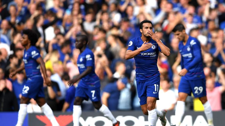 Pedro of Chelsea celebrates after scoring his team's first goal during the Premier League match between Chelsea FC and Arsenal FC at Stamford Bridge on August 18, 2018 in London, United Kingdom