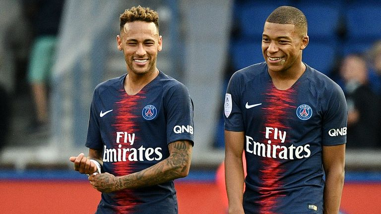 Kylian Mbappe (R) was on target alongside Neymar