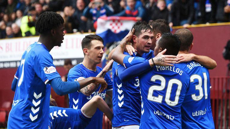 Rangers celebrate Kyle Lafferty's equaliser