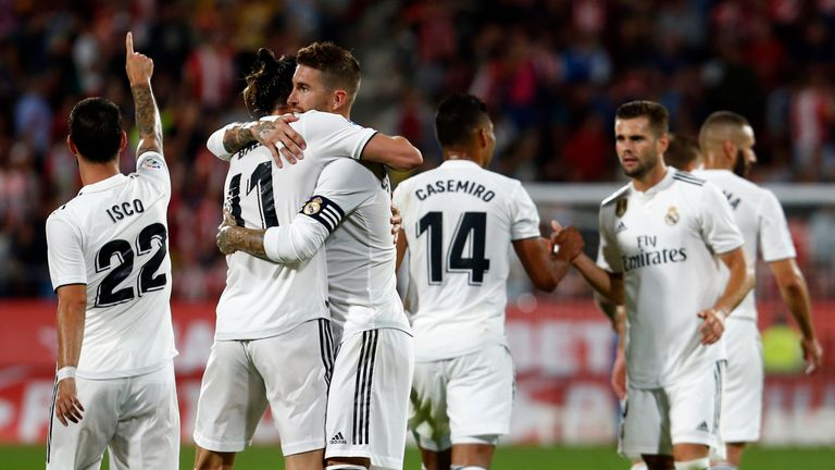 Real Madrid celebrates after Gareth Bale's goal
