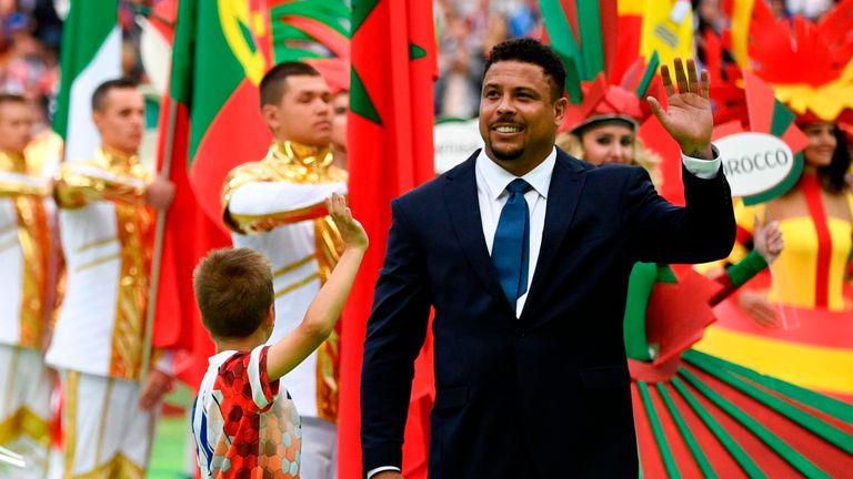 Ronaldo waves to fans at the 2018 World Cup Opening Ceremony
