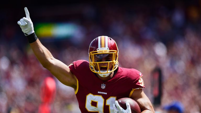 Outside linebacker Ryan Kerrigan is a star on Washington's defense