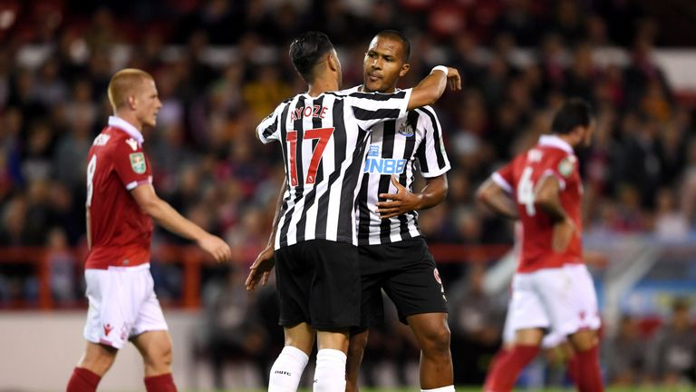 Salomon Rondon's first Newcastle goal came in last month's EFL Cup defeat to Nottingham Forest